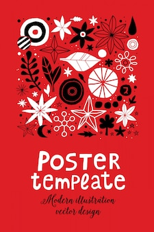 Creative poster template with flowers and abstract hand drawn elements