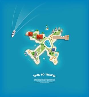 Креативный плакат с островом в виде самолета. отпуск праздник баннер. вид сверху на остров. праздничная поездка. путешествие и туризм.