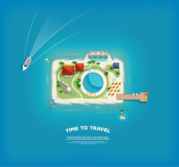 カメラの形で島とクリエイティブなポスター。休暇の休日のバナー。島の上面図。休日の旅行。旅行と観光。