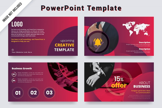 Creative powerpoint template design with world map.