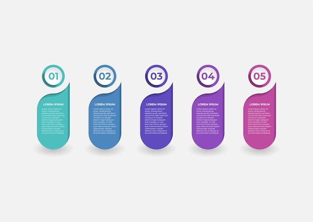 5단계 수직 옵션 배너의 인포그래픽을 위한 창의적인 프레젠테이션 레이블 디자인