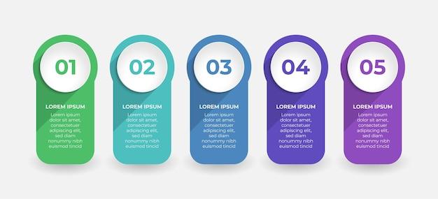 5단계로 구성된 인포그래픽용 크리에이티브 프레젠테이션 라벨 디자인
