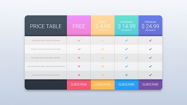 Creative pricing table template on white