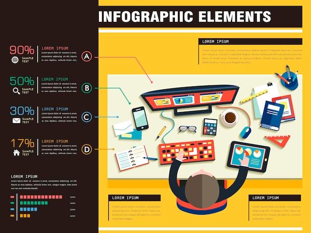 직장의 상위 뷰와 창의적인 프로세스 개념 평면 디자인