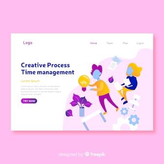 Creative process concept landing page template