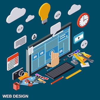 Creative process flat isometric vector concept