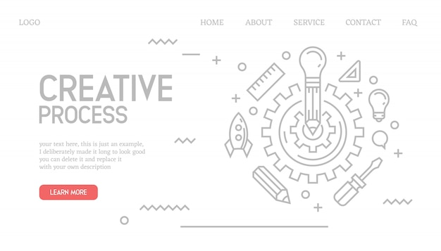 Creative process landing page in doodle style