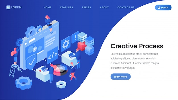 Creative process landing page isometric template