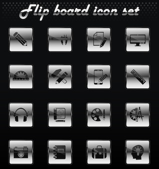 Creative process vector flip mechanical icons for user interface design