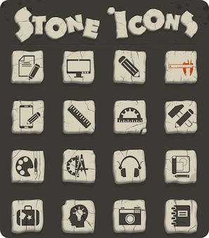 Creative process web icons on stone blocks in the stone age style for user interface design
