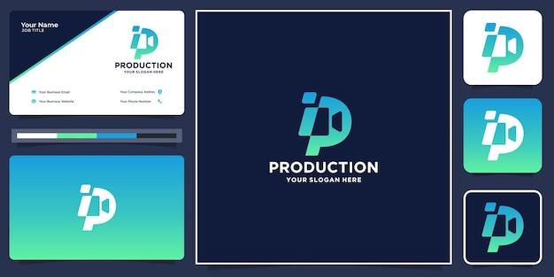 クリエイティブプロダクションフィルムのロゴ。映画のロゴ、映画製作、スタジオ映画のロゴ、名刺のデザイン。