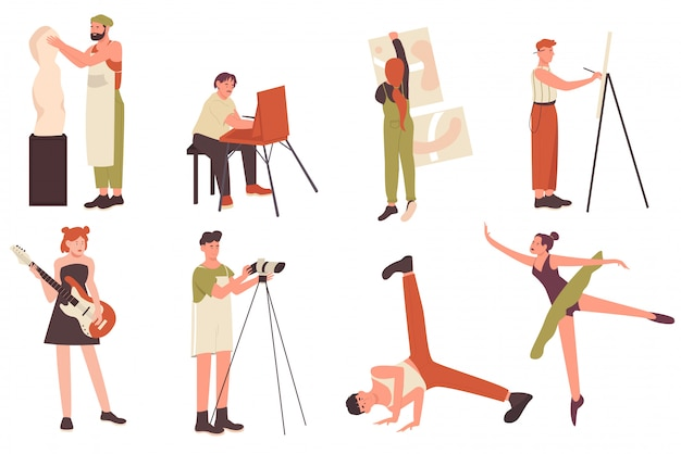 Creative profession artist people illustration set. cartoon flat artistic characters, art sculptor craftsman or artisan painter creator, musician and dancer in dance pose isolated on white