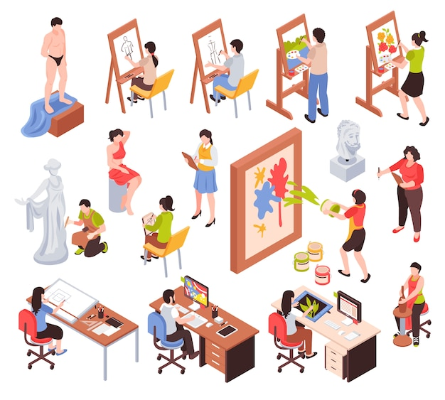 Creative profession isometric set with artists masters of sculpture and pottery graphic designers isolated vector illustration