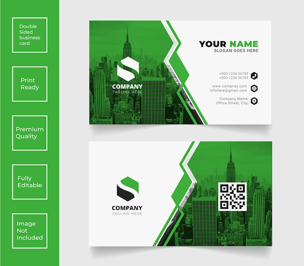 Creative professional business card vector green color template design