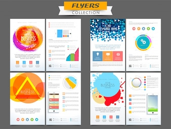 Creative professional business flyers collection with abstract design and infographic elements