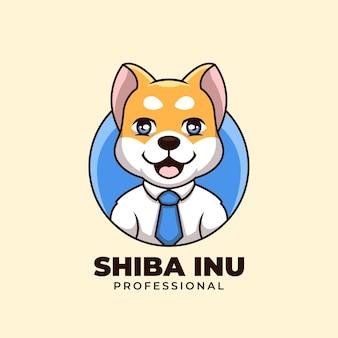 Креативный профессиональный дож сиба ину мультфильм логотип