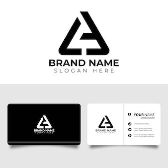 Креативный профессиональный буква a или логотип la с визитной карточкой