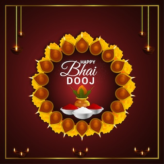 Creative puja thali with kalash . happy bhai dooj celebration background