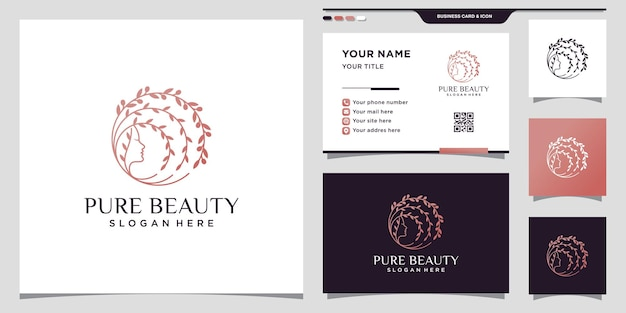 Creative pure beauty logo with woman face linear style and business card design premium vector