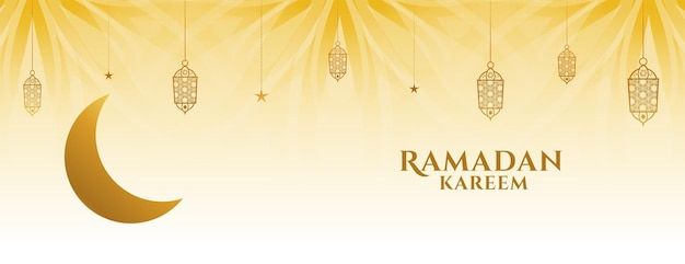 Creative ramadan kareem banner with moon and decorative lamps