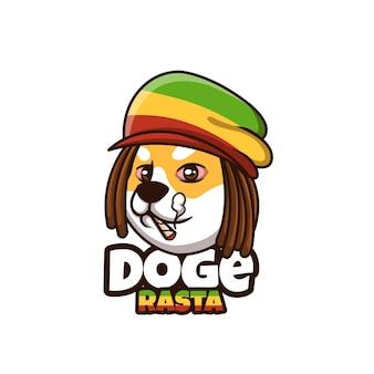 Креативный дизайн логотипа мультипликационного персонажа rasta doge shiba inu