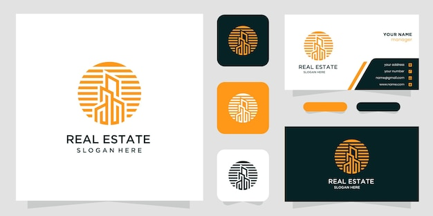 Креативный дизайн логотипа и визитной карточки недвижимости