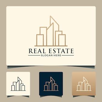 Creative real estate logo design line art style, real estate, buildings etc
