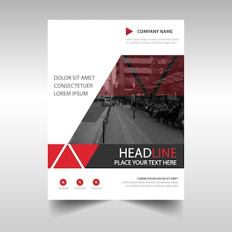 Creative red annual report book cover template