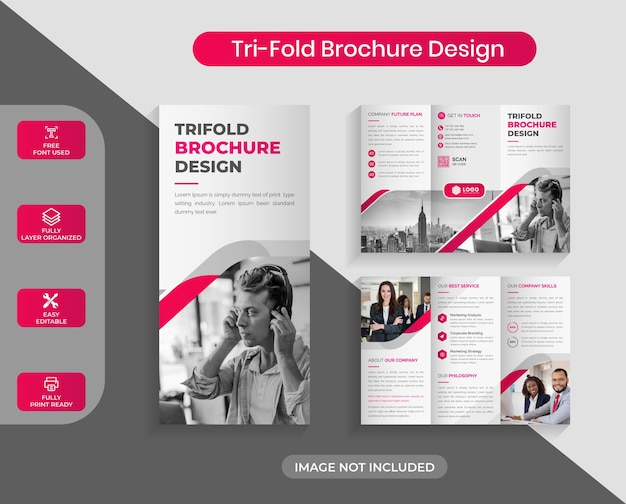 크리에이 티브 레드 비즈니스 trifold 브로셔 디자인