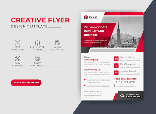 Creative red color flyer design template