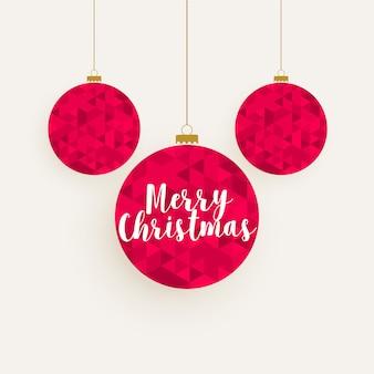 クリエイティブ赤い幾何学模様のクリスマスボールの装飾