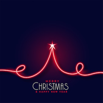 Creative red neon christmas tree background