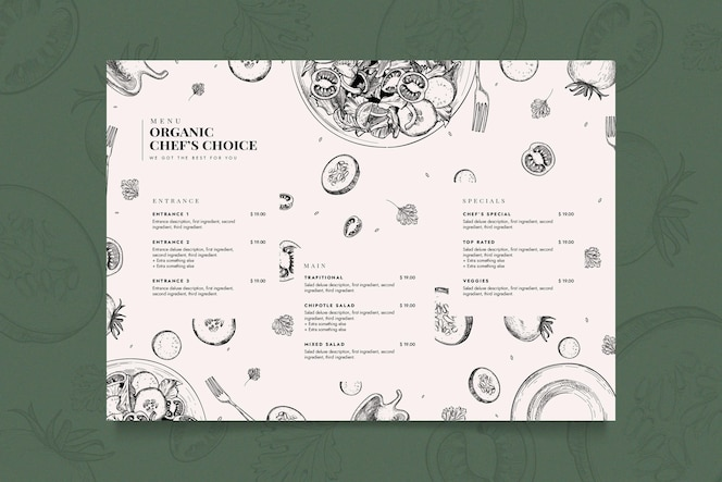 Креативный шаблон меню ресторана