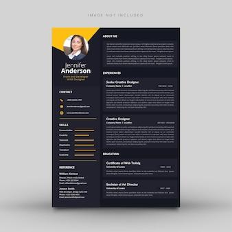 写真付きのクリエイティブな履歴書テンプレート