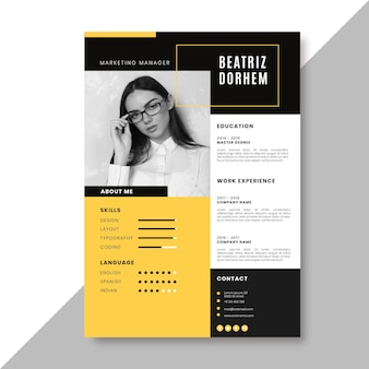 Creative resume template with photo