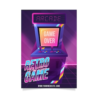 Креативный ретро игровой плакат шаблон
