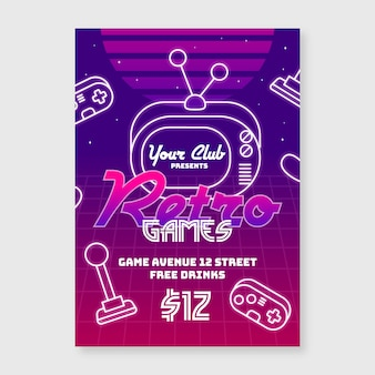 Creative retro gaming poster template
