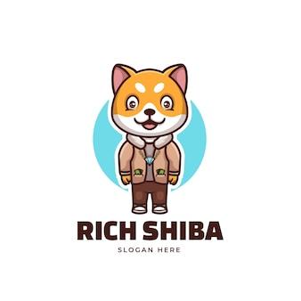 Творческий богатый дож сиба ину мультфильм дизайн логотипа