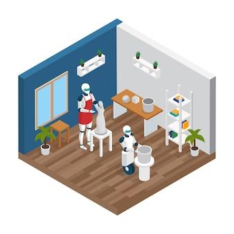 Composizione isometrica robot creativo