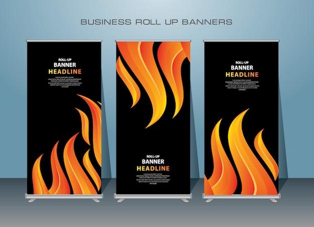 Creative roll up banner design in dark