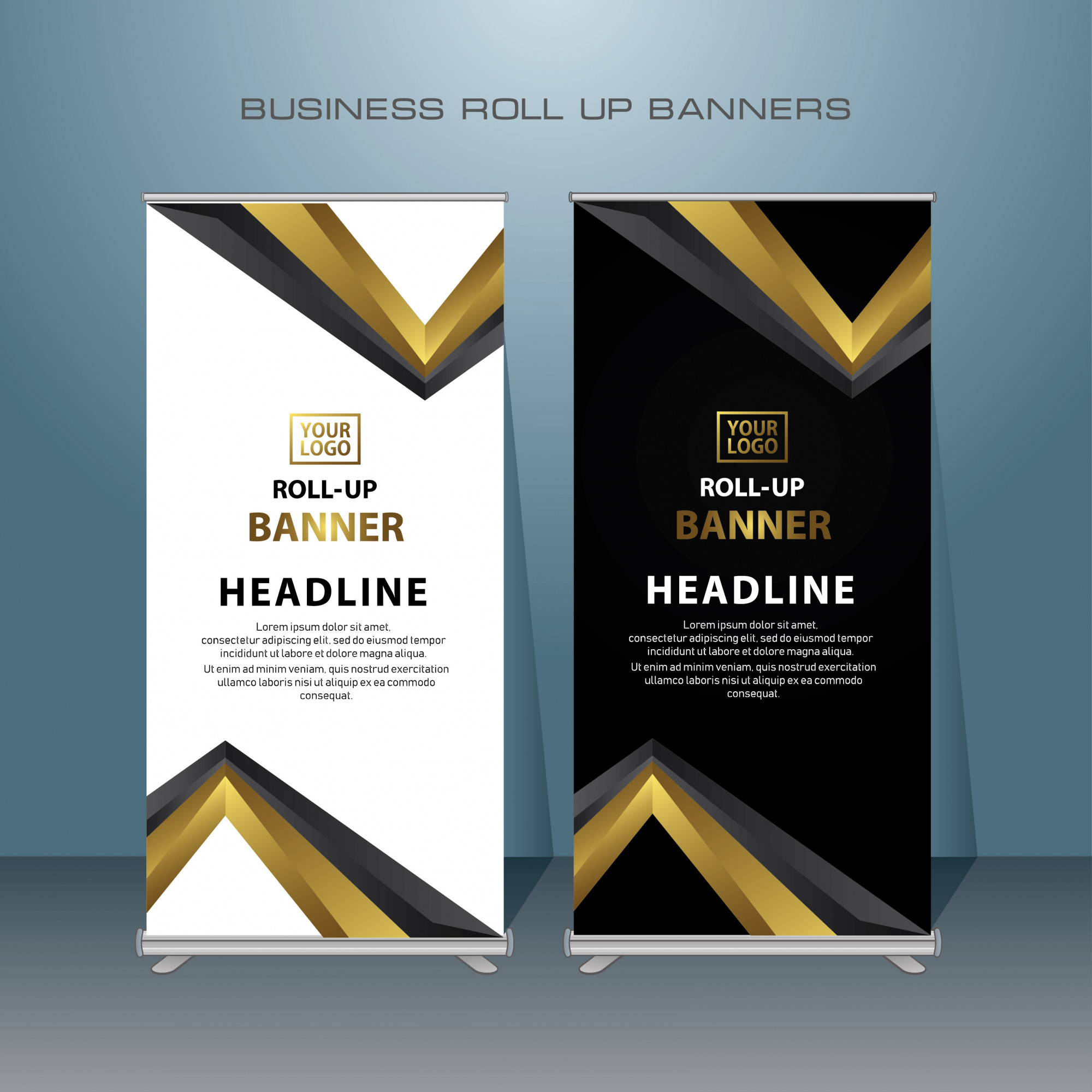 Creative Roll up banner design in gold color