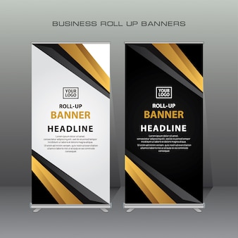 Creative roll up banner design template in gold and black color
