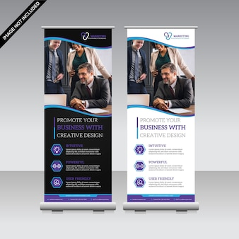 Creative roll up banner template premium vector