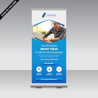 Creative roll up banner template premium