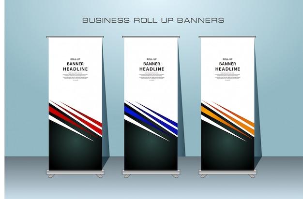 Creative rollup banner design in red, blue and orange color