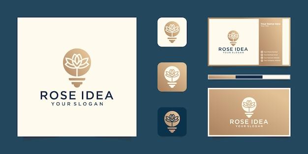 クリエイティブなバラの球根のロゴと名刺