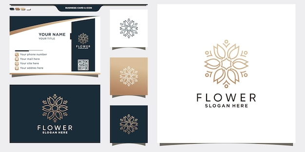 Creative rose flower logo template with linear style and business card design