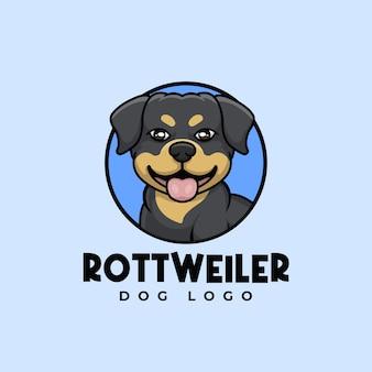 Креативный ротвейлер мультипликационный персонаж талисман дизайн логотипа