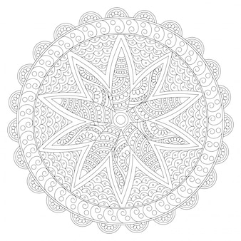 Creative rounded floral mandala design, vintage decorative element with oriental pattern for coloring book, anti-stress therapy.