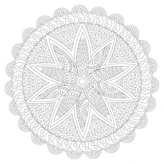 Творческий округлый цветочный дизайн мандалы, винтажный декоративный элемент с восточным рисунком для раскраски, антистрессовая терапия.